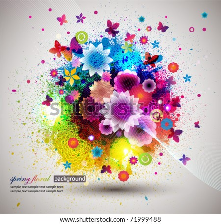 Grunge floral Background. Eps10 - stock vector
