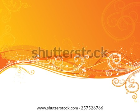 Grunge floral background. Vector background with place for your text on white and orange areas. - stock vector