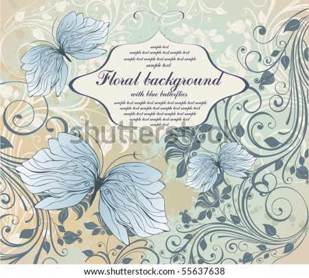 grunge floral background with butterfly - stock vector