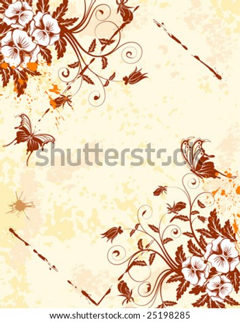 Grunge Floral Background with butterfly and frame, element for design, vector illustration