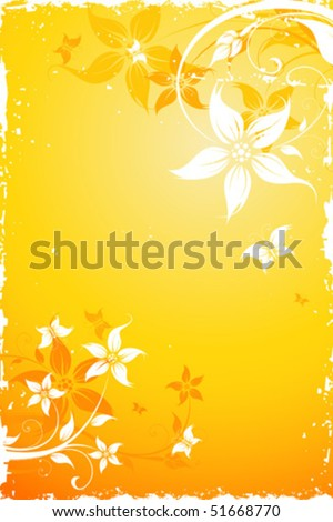 Grunge Floral Background with butterfly. Vector illustration. Abstract Pattern.