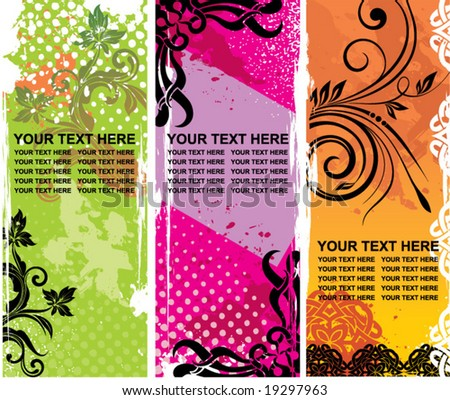 Grunge floral banners with place for your text - stock vector