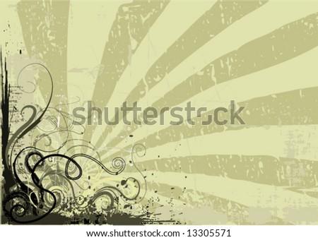 grunge floral corner - stock vector