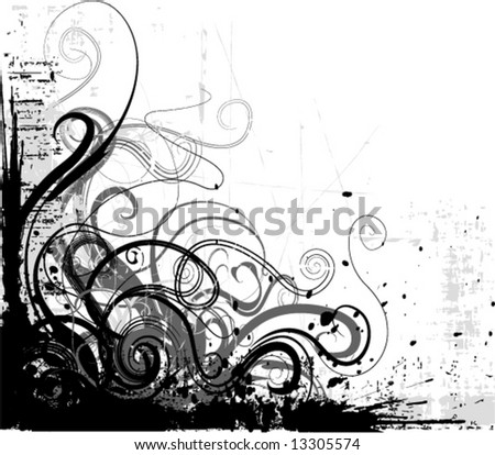 grunge floral decorative corner - stock vector