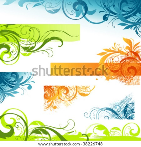 Grunge floral scroll set for backgrounds and others design. Elements can be ungrouped for easy editing. - stock vector