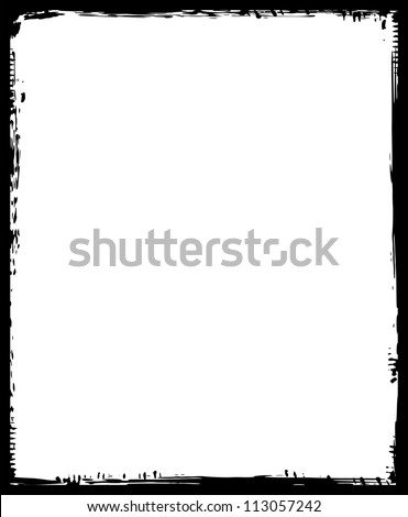 grunge frame, black, vertical - stock vector