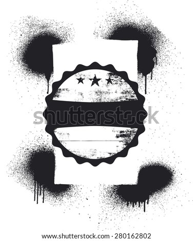 grunge frame with shield and copy space - stock vector
