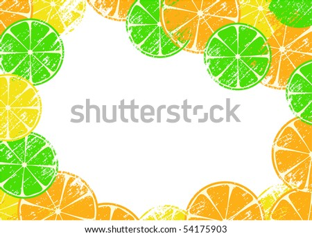 Grunge frame with slices of lemon, orange and lime, vector illustration - stock vector