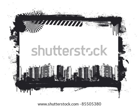 grunge frame with urban background - stock vector