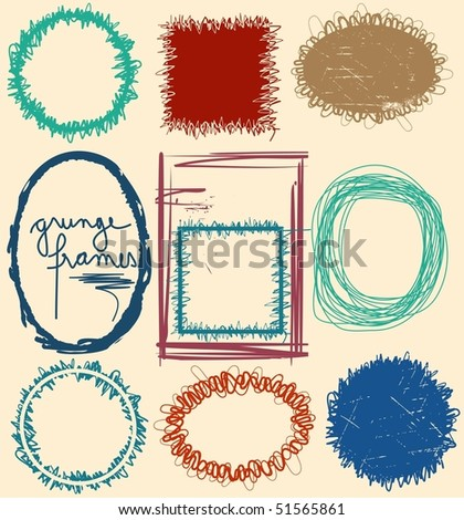 Grunge frames. Grouped, easy to change color - stock vector