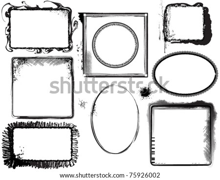 Grunge Frames, Labels - stock vector