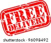 Grunge free delivery rubber stamp, vector illustration - stock vector