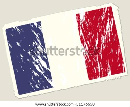 Grunge french flag. Vector illustration. - stock vector