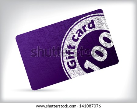 Grunge gift card design with white seal - stock vector