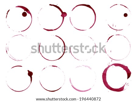 Grunge glass or cup stains isolated on white