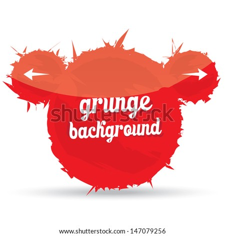 Grunge glossy red shape. Abstract red background can be used for merry christmas or happy new year design. Hand drawn.  - stock vector