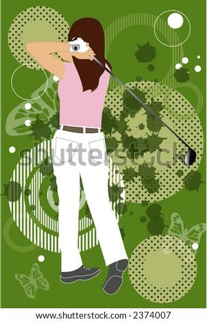 grunge golfing - stock vector