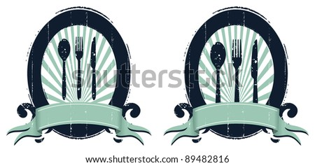 grunge gourmet shields with banners - stock vector