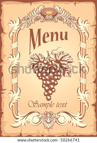 Grunge grape banner in old, antique style, vector