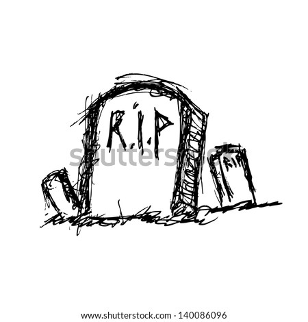 grunge grave in doodle style - stock vector