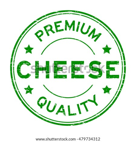 Grunge green premium quality cheese rubber stamp on white background