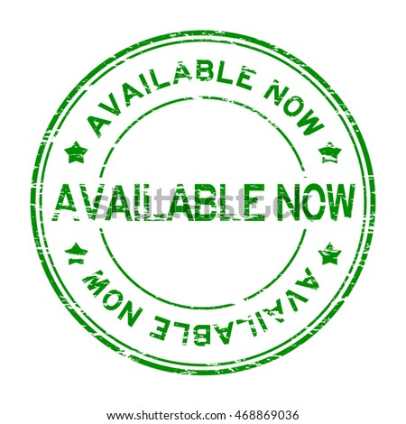 Grunge green round available now rubber stamp