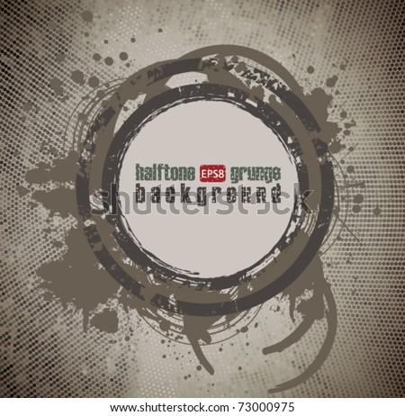 Grunge Halftone Background - stock vector
