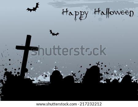 Grunge Halloween background with cemetery grave tombstones - stock vector