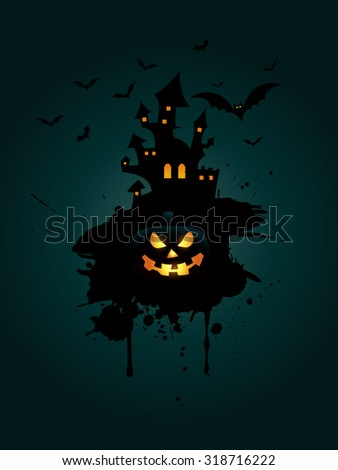Grunge Halloween background with pumpkin and spooky house - stock vector
