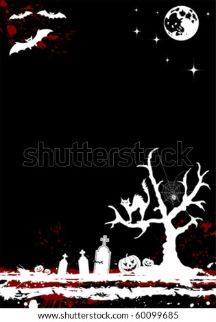Grunge Halloween background with tree and moon, element for design, vector illustration - stock vector