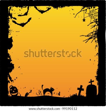 Grunge Halloween frame - stock vector