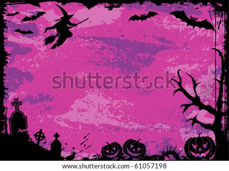 Grunge Halloween frame with bat, pumpkin, witch, element for design, vector illustration - stock vector