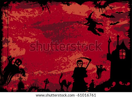 Grunge Halloween frame with bat, witch, ghost, element for design, vector illustration - stock vector