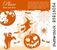 Grunge halloween frame with bats, pumpkin and spider, vector illustration - stock vector