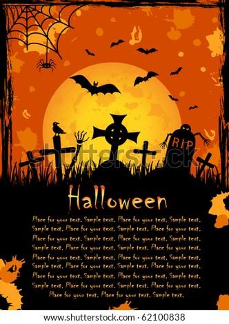 Grunge Halloween night background, illustration - stock vector
