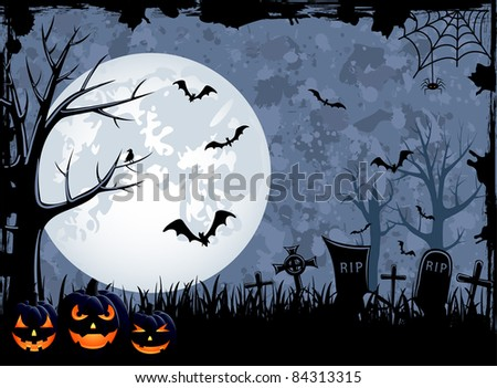 Grunge Halloween night background, illustration - stock vector