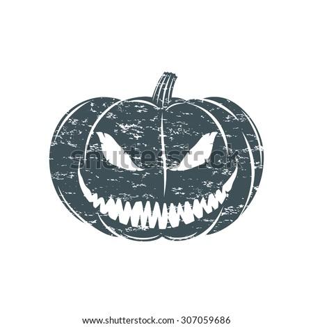 Grunge Halloween pumpkin. Vector illustration. - stock vector