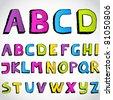 Grunge hand drawn alphabet. Vector. - stock vector