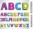 Grunge hand drawn alphabet. Vector.Hand drawn letters A set of numbers and letters in words for design illustration , backgrounds , textures , wallpaper,computer technologies,creation of clothing. - stock vector