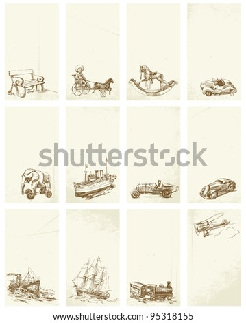 grunge hand drawn business cards with vintage toys - stock vector