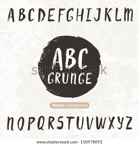 Grunge hand drawn font. Vector illustration - stock vector