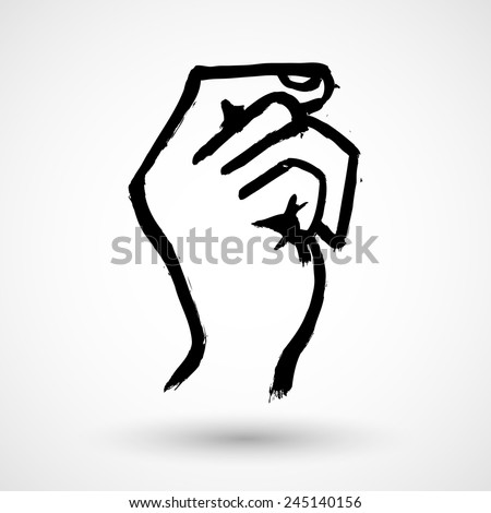 Grunge hand hold virtual business card. Isolated on white. - stock vector