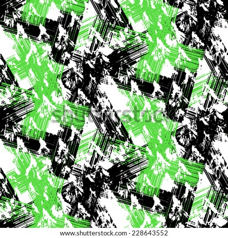 Grunge hand painted abstract pattern with bold textured brushstrokes in bold colors, black, green, white. Seamless vector for winter fall fashion - stock vector