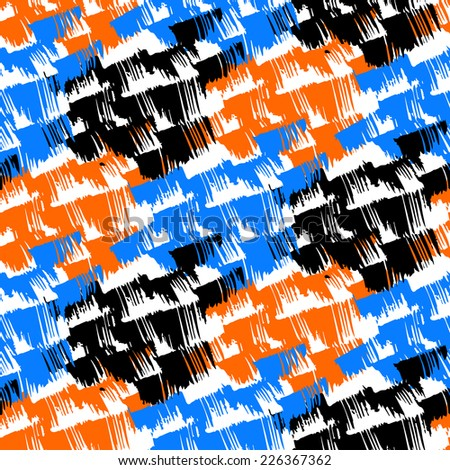 Grunge hand painted abstract pattern with bold textured brushstrokes with ethnic and tribal motifs in bright various colors black, orange, blue, white. Seamless vector for winter fall fashion - stock vector