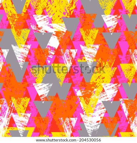 Grunge hand painted abstract pattern with bold textured triangles in bright multiple colors, seamless vector for summer fall fashion - stock vector