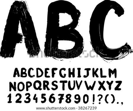Grunge hand-written vector typeset with digits - stock vector
