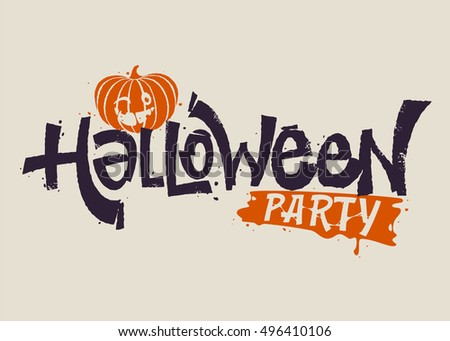 Grunge handwritten Halloween lettering. Party graffiti with scary effects for invitation or greeting cards, party and sale design.