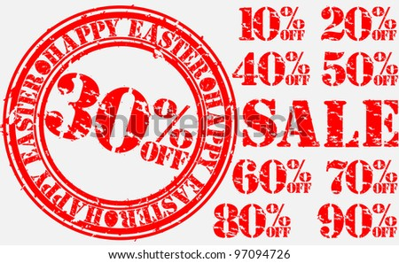 Grunge happy easter sale set, rubber stamp with discount, vector illustration