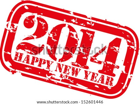 Grunge happy new 2014 year rubber stamp, vector illustration