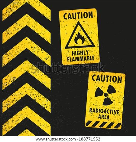 Grunge Hazard Warning - stock vector